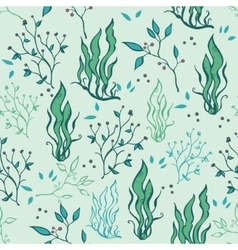 Hand drawn seaweed plants ocean life vector