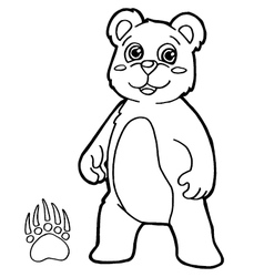 Bear with paw print coloring page vector