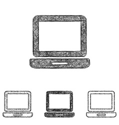 Laptop icon set - sketch line art vector