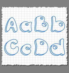 sketch 3d alphabet letters - ABCD vector image