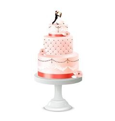 Wedding cake with statuette of newlywed vector