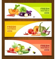 Vegetables and fruits horizontal banners vector