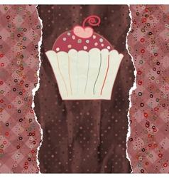 Birthday card with cupcake eps 8 vector