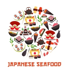 Banner with sushi rolls japanese cuisine vector