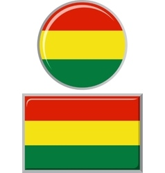 Bolivian round and square icon flag vector