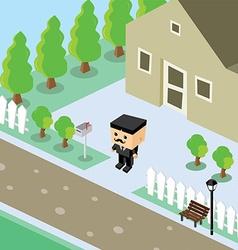 Businessman residential home isometric cartoon vector