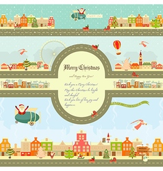 Christmas characters on City Map vector image