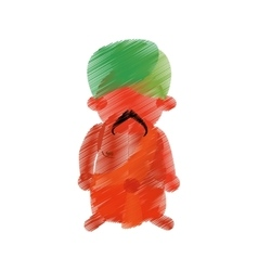 Colored hand drawing indian man mustache turban vector