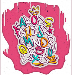 colorful handwritten graffiti font alphabet vector image