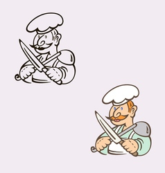 cook with knife and ladle vector image