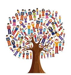 Diversity pixel human tree vector image
