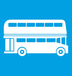 Double decker bus icon white vector