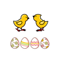 Flat easter decorated chicken eggs chicks vector