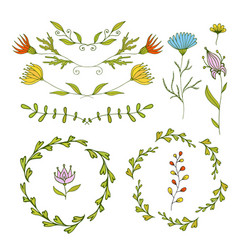 Floral design elements set spring frames and vector