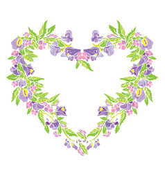 Floral frame in heart shape with flowers isolated vector