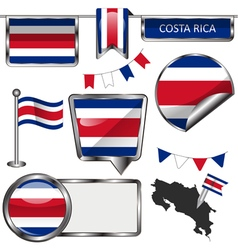 Glossy icons with Costa Rican flag vector image vector image