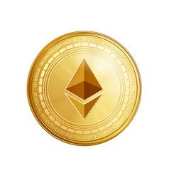 golden ethereum coin symbol vector image