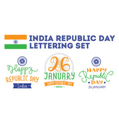 Indian republic day hand lettering labels vector