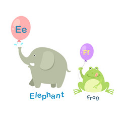 Isolated alphabet letter e-elephantf-frog vector
