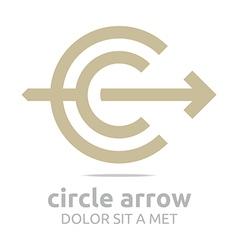 letter c arrow brown icon symbol vector image vector image