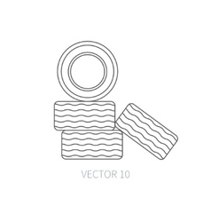 Line flat icon car repair part - tires vector
