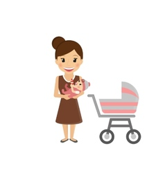 Mom with little baby vector image