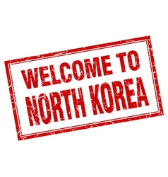 North Korea red square grunge welcome isolated vector image vector image