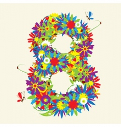 Number 8 floral design vector