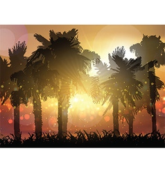 palm trees at sunset 0705 vector image vector image