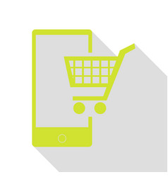 Shopping on smart phone sign pear icon with flat vector