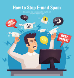 Stop spam ad poster vector