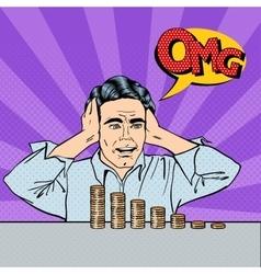 Stressed businessman with his last money pop art vector