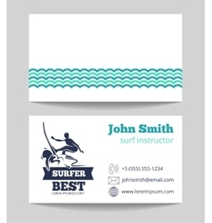 Surf card template with logo vector image vector image