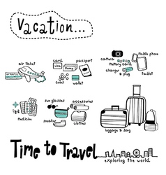 Time to travel doodle white background vector