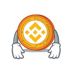 Tired binance coin mascot catoon vector