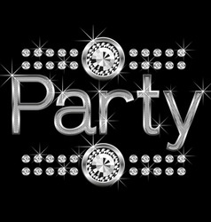vector thin metal diamond word party big and small vector image vector image