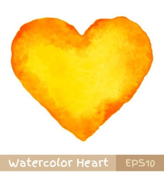 Yellow watercolor heart vector