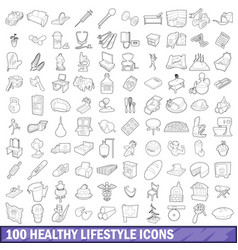 100 healthy lifestyle icons set outline style vector