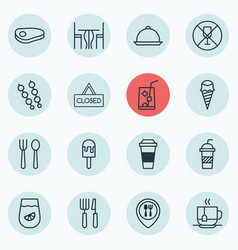Set of 16 cafe icons includes closed placard vector