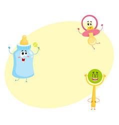 Funny baby pacifier milk bottle and rattle toy vector