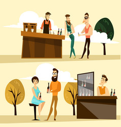 Beer party people icon set vector