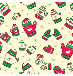 Winter seamless pattern with red green mittens vector