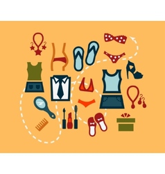 Flat fashion icons set vector