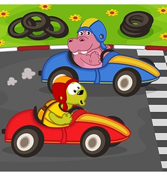 animals in car racing vector image
