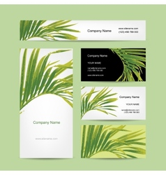 Business cards design tropical leaf vector