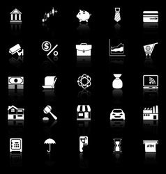 Banking and financial icons with reflect on black vector