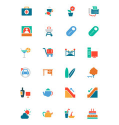 Hotel and restaurant colored icons 4 vector