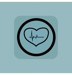 Pale blue cardiology sign vector