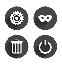 Anonymous mask and gear signs recycle bin vector
