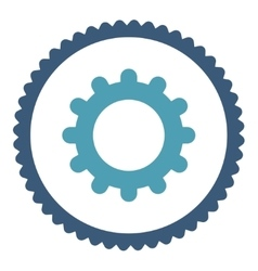 Gear flat cyan and blue colors round stamp icon vector